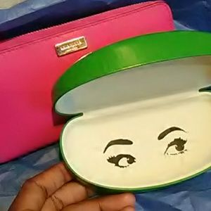 Kate spade hot pink wallet with green case
